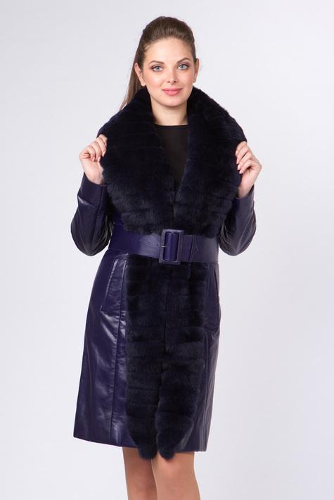 Кожаное пальто на натуральном меху женское
